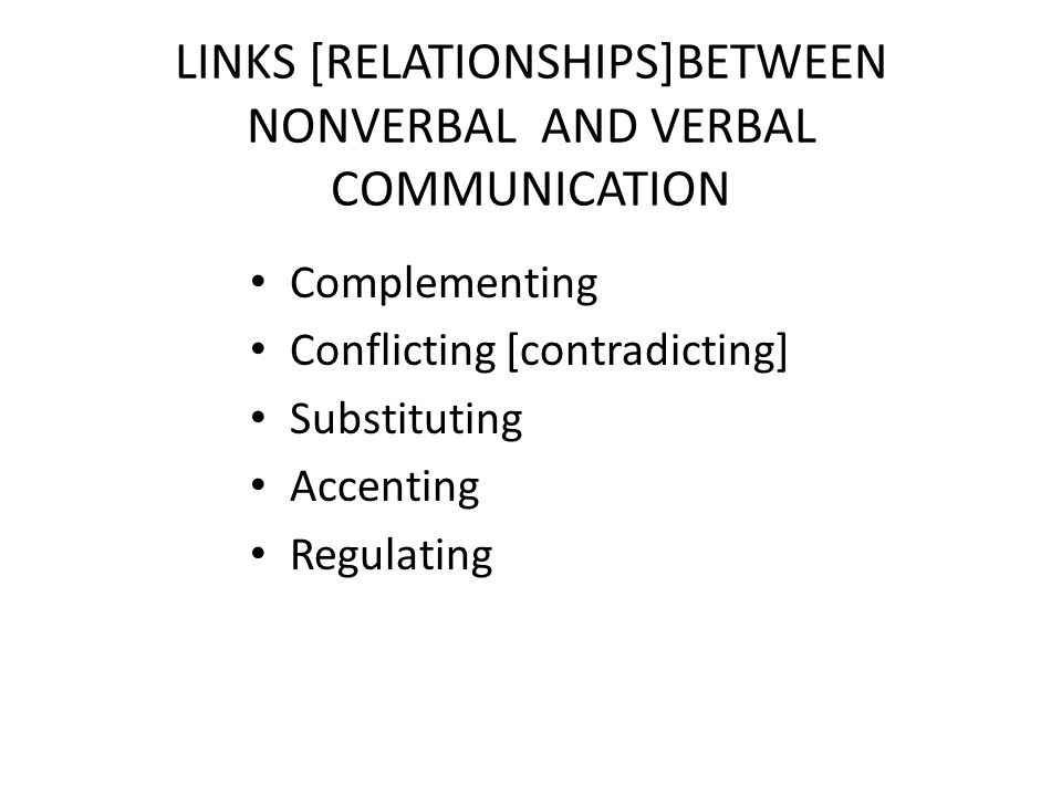 LINKS [RELATIONSHIPS]BETWEEN NONVERBAL AND VERBAL COMMUNICATION